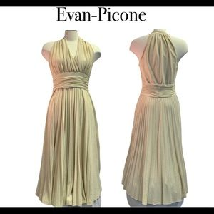 Evan-Picone Gold pleated halter top dress size 12